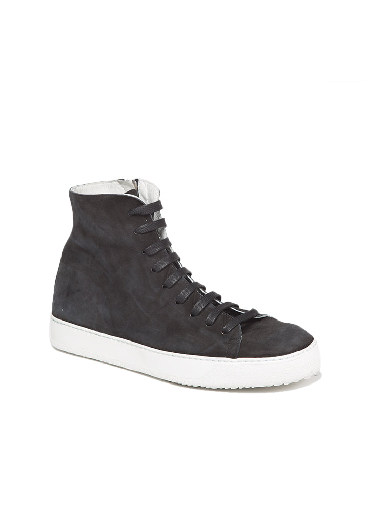 Mercer High Top Sneaker in Black Suede-Ari Soho