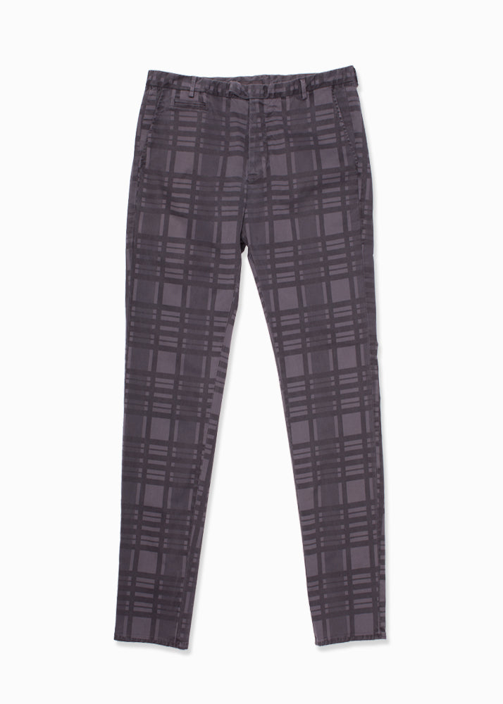Cotton Stretch Checkered Chino Pant-Ari Soho