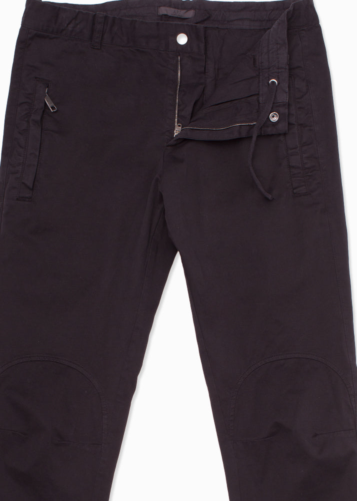 Knee Detailed Cotton Stretch Drawstring Trousers-Ari Soho