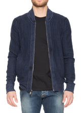 Reversible Cashmere Bomber in Jet Blue-Ari Soho