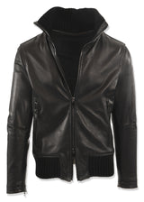 Leather Jacket with High Neck