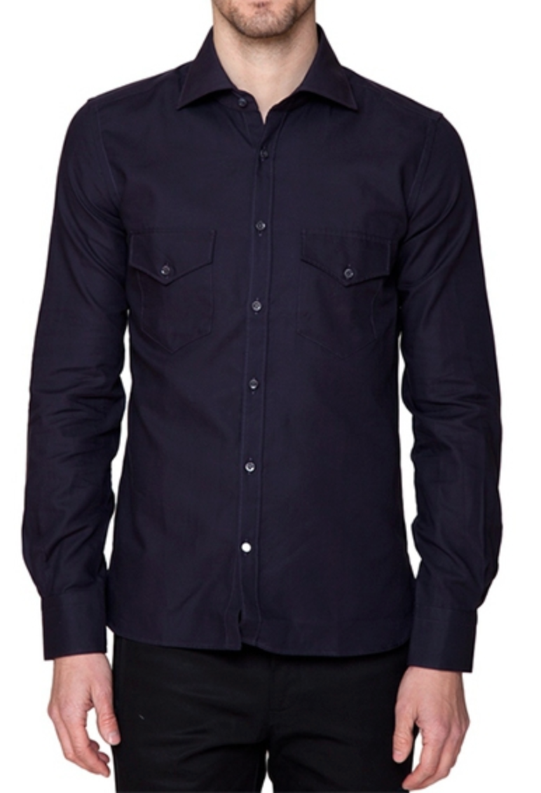 Flap Pocket Button Down in Dark Blue-Ari Soho