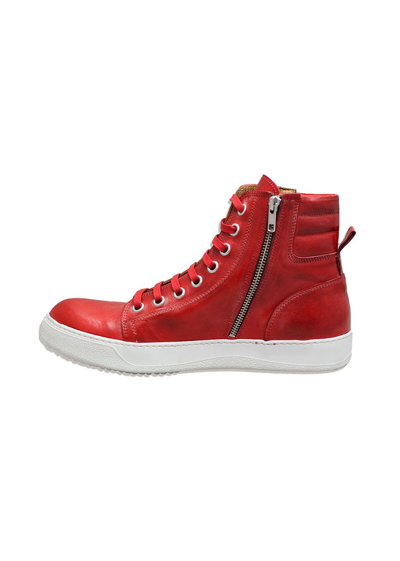 Red Leather High - Top Sneakers-Ari Soho