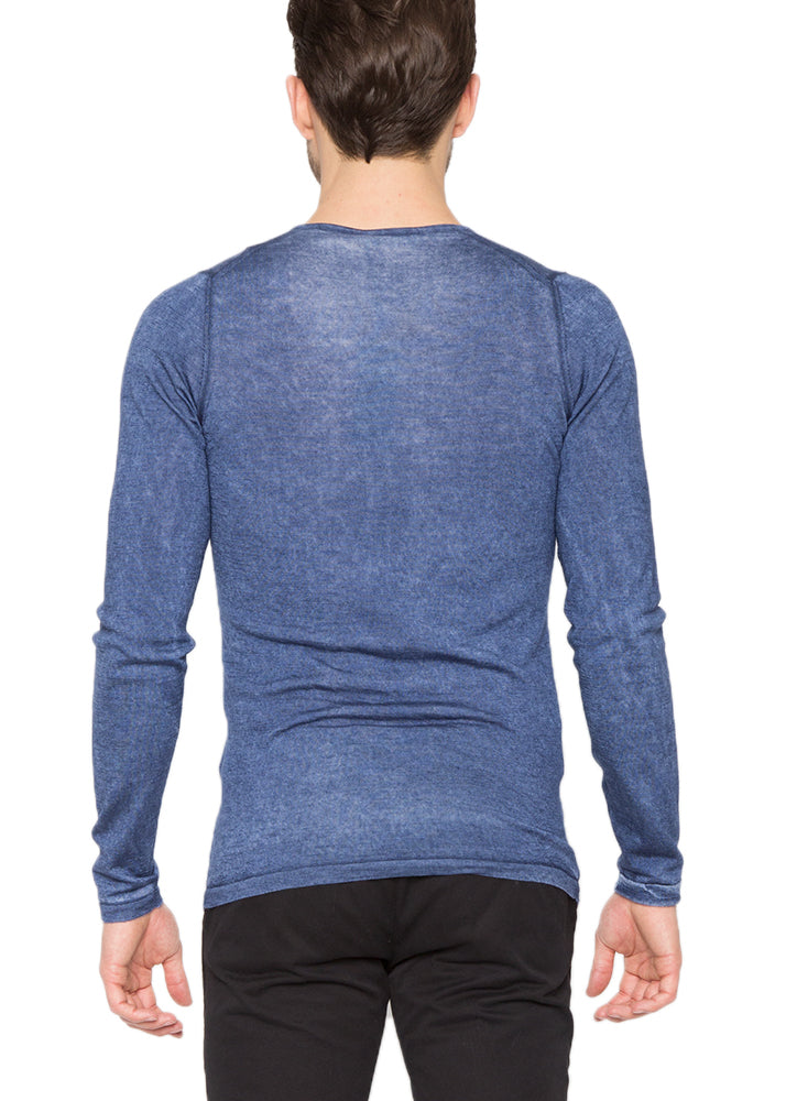 Silk Cashmere V-Neck in Paris Blue-Ari Soho