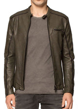 The Enric Moto Jacket in Green W- Black stripe-Ari Soho