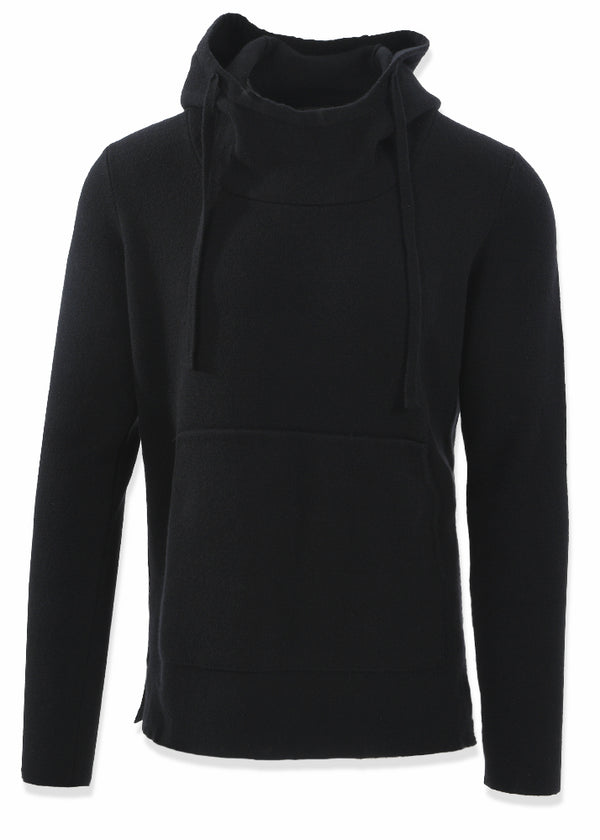 CASHMERE SWEATER HOODIE IN BLACK