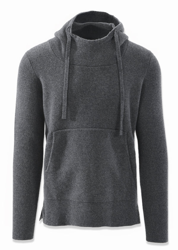 CASHMERE SWEATER HOODIE IN CHARCOAL