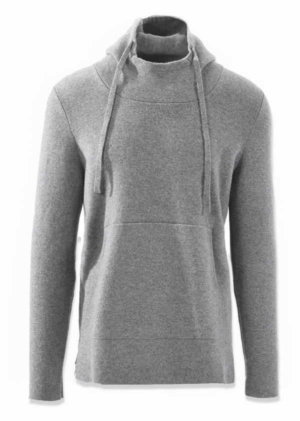 CASHMERE SWEATER HOODIE IN LIGHT GREY