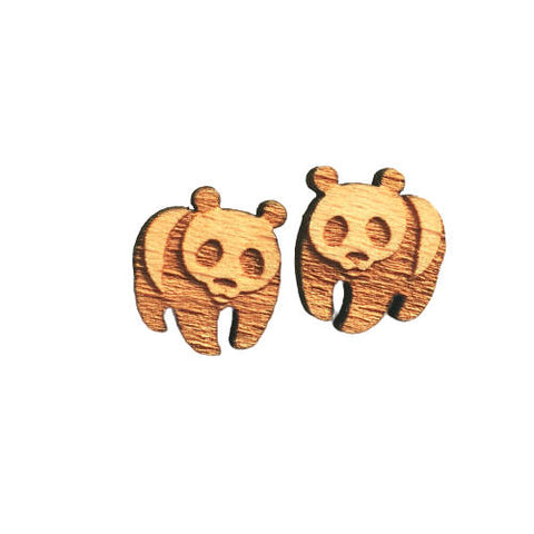Panda Bear Earrings  Wood WWF