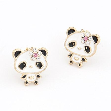 Panda Cartoon  Earrings (Rose)