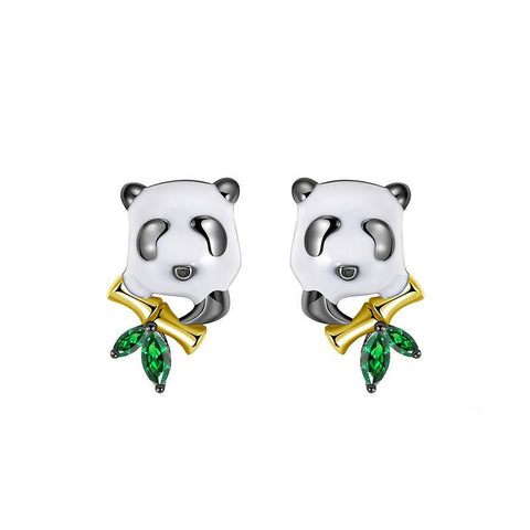Panda Earrings  with Bamboo