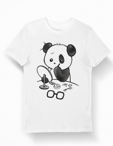 white-panda-t-shirt-makeup