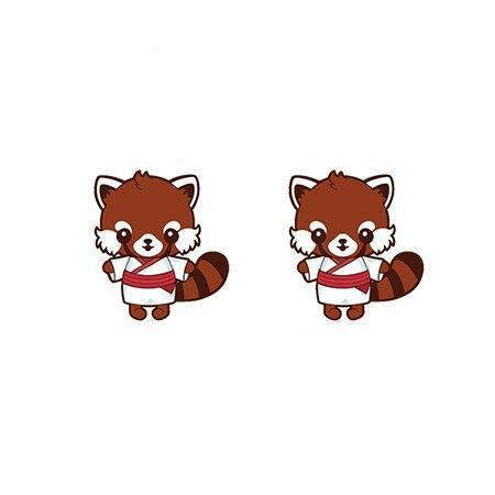 Red Panda  Earrings (Kimono)