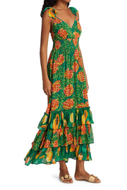 PINEAPPLE GALORE SMOCKED MAXI DRESS