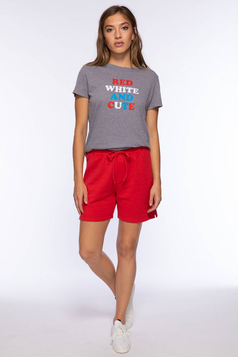 RED WHITE & CUTE LOOSE TEE