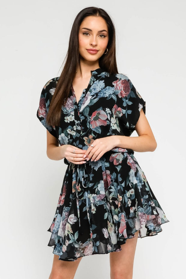 FLORAL RUFFLED SS DRESS
