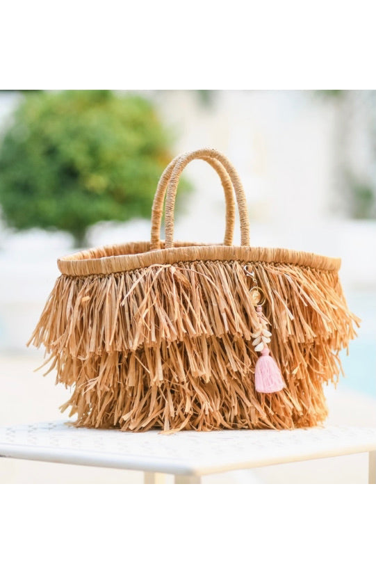 FRINGY TOTE W/SHELL TASSEL