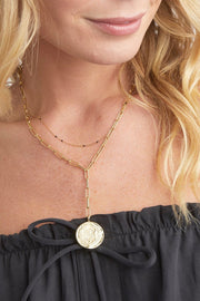 ANA COIN LARIAT NECKLACE- GOLD