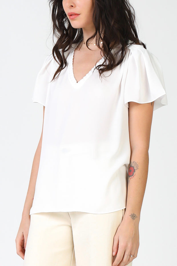 PLEATED VNECK SS TOP