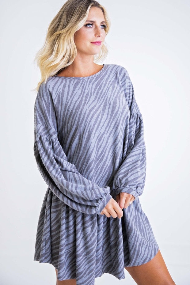 ZEBRA KNIT RUFFLE DRESS
