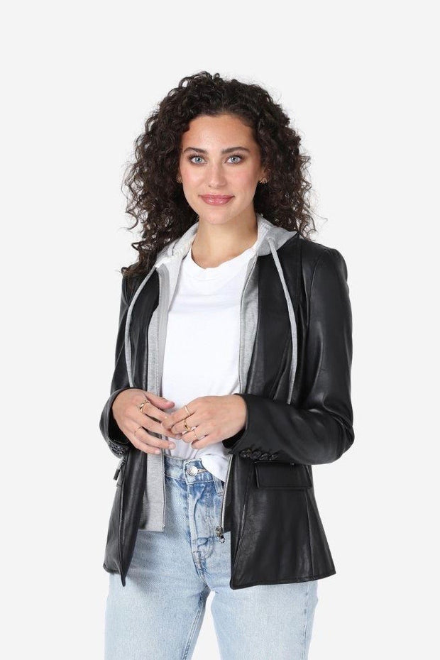 ASPEN FAUX LEATHER BLAZER