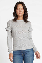 RUFFLED SHOULDER SWEATER