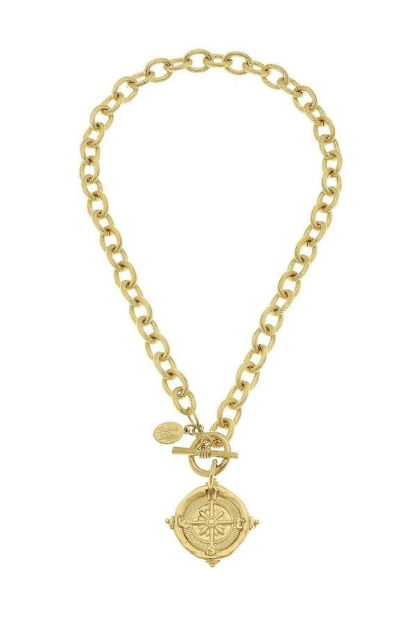 COMPASS TOGGLE NECKLACE- GOLD