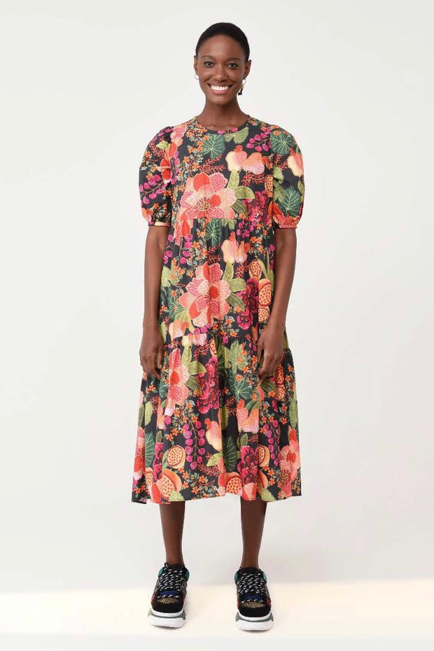 BLACK FRUIT FLORAL MIDI DRESS