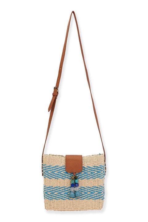 STRAW CROSSBODY W/BEAD TASSEL