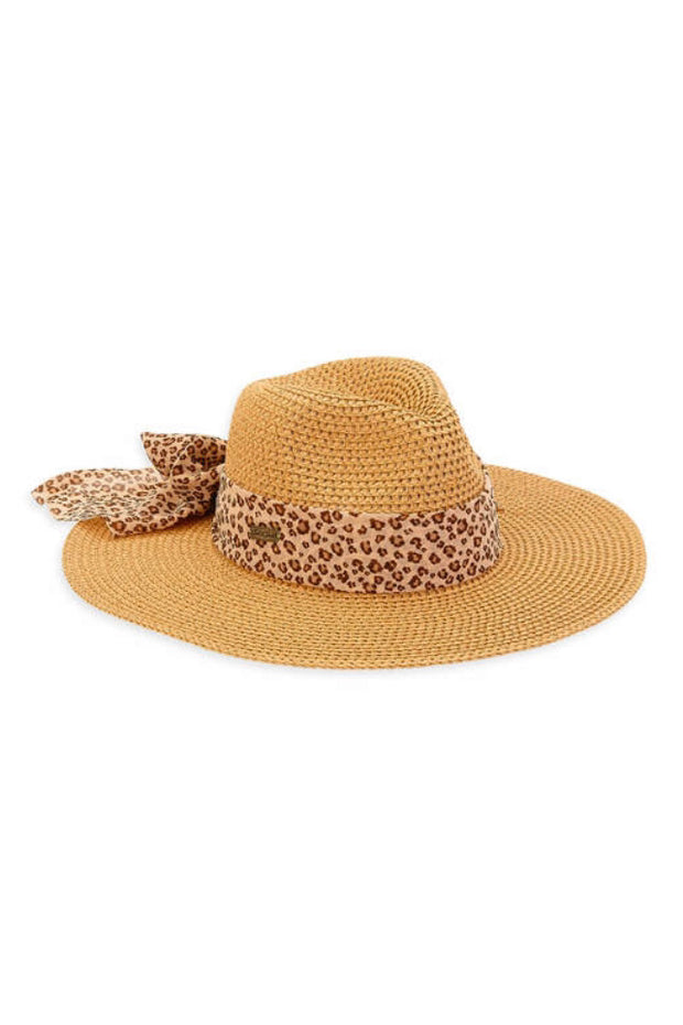 STRAW HAT W/LEOPARD RIBBON