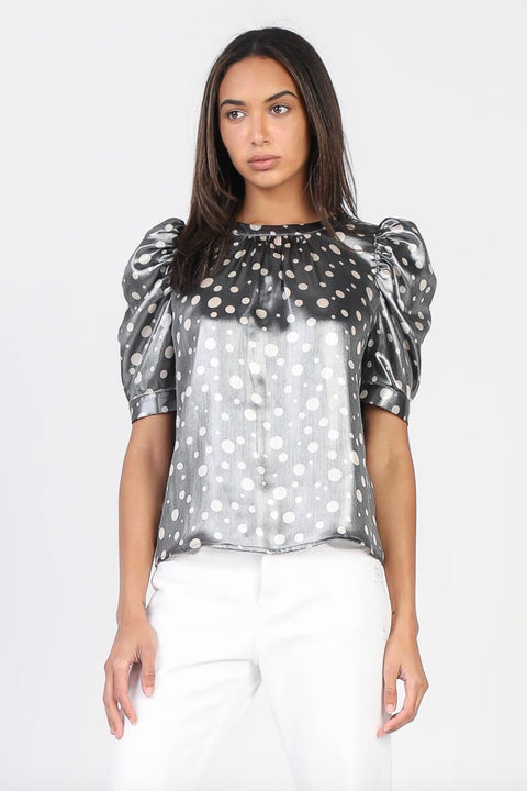 METALLIC POLKA DOT DRAPED SLEEVE TOP