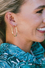 BAMBOO HOOP EARRINGS- GOLD