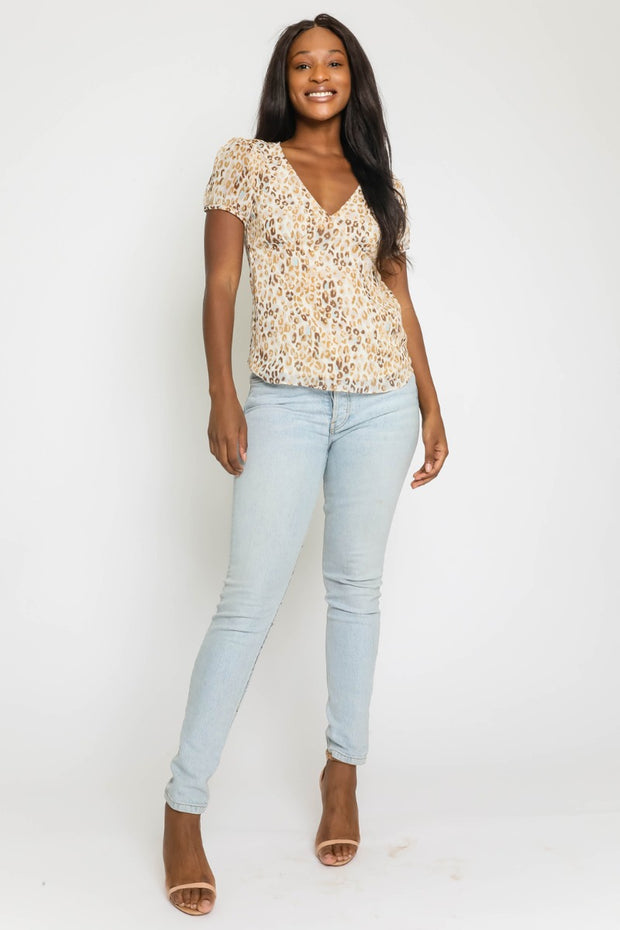 VNECK BLOUSE W/PUFF SLEEVES