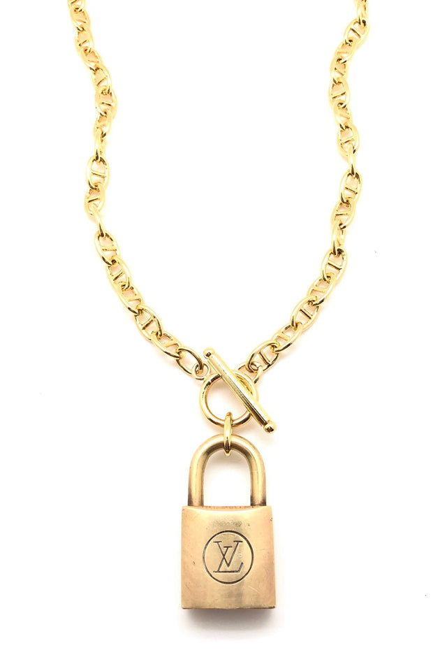 DESIGNER LOCK PAD (NO KEY) NECKLACE- ANCHOR CHAIN