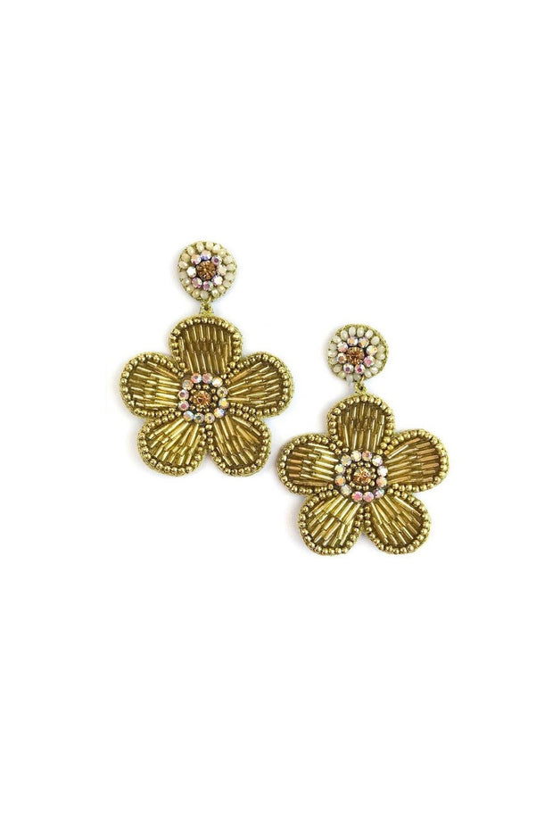 BEADED FLOWER EARRINGS- GOLD