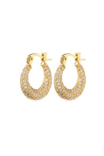 PAVE MINI MARTINA HOOPS- GOLD