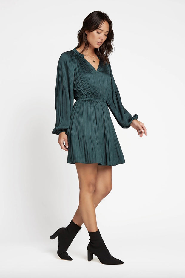 SPLIT NECKLINE LS PLEATED MINI DRESS