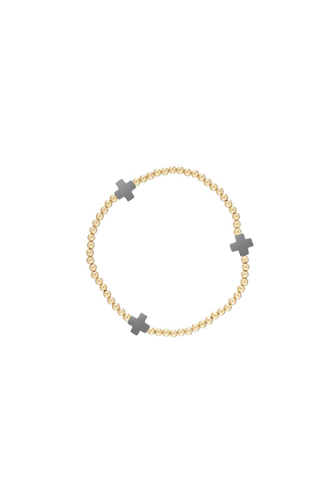 SIG CROSS PATTERN 3MM BEAD BRACELET