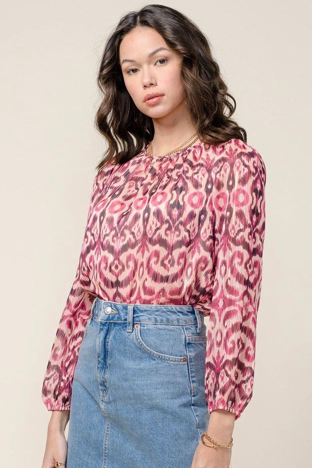 MYLA LUREX THREADED CHIFFON BLOUSE