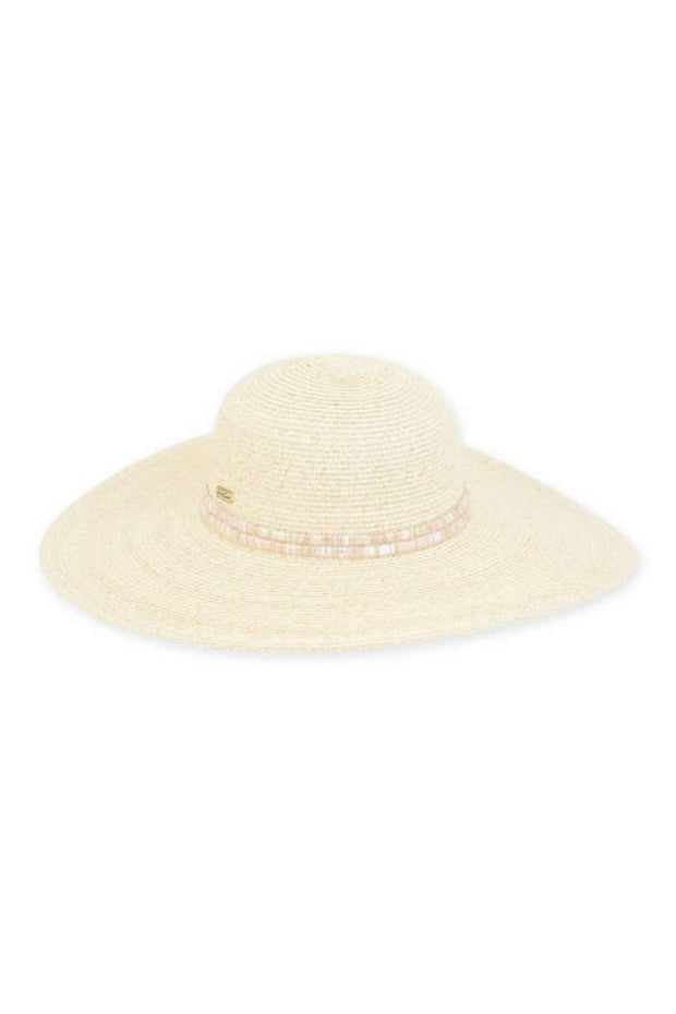 WIDE BRIMMED HAT W/BEADED STRAP