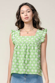 GIA EMBROIDERED SQUARE NECK TOP