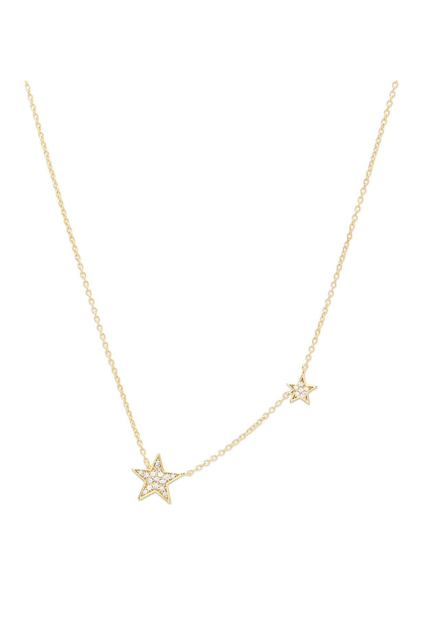 SUPER STAR SHIMMER STATEMENT NECKLACE- GLD/CZ