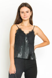 LEATHER TANK W/LACE TRIM