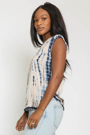 TIE DYE TANK TOP W/FRAYED HEM