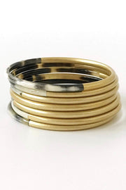 SHINY GOLD HORN BANGLE SET