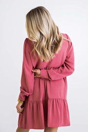 VNECK RUFFLE TIER DRESS