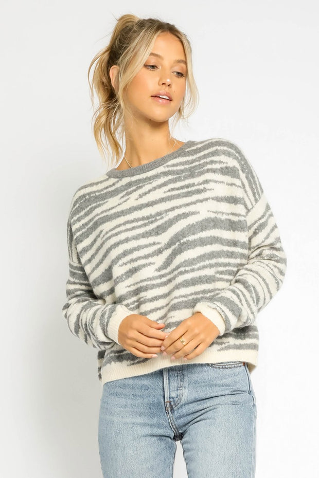FUZZY ZEBRA SWEATER