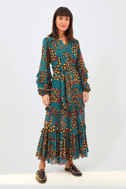 TEAL ETHNIC BANANA MAXI DRESS