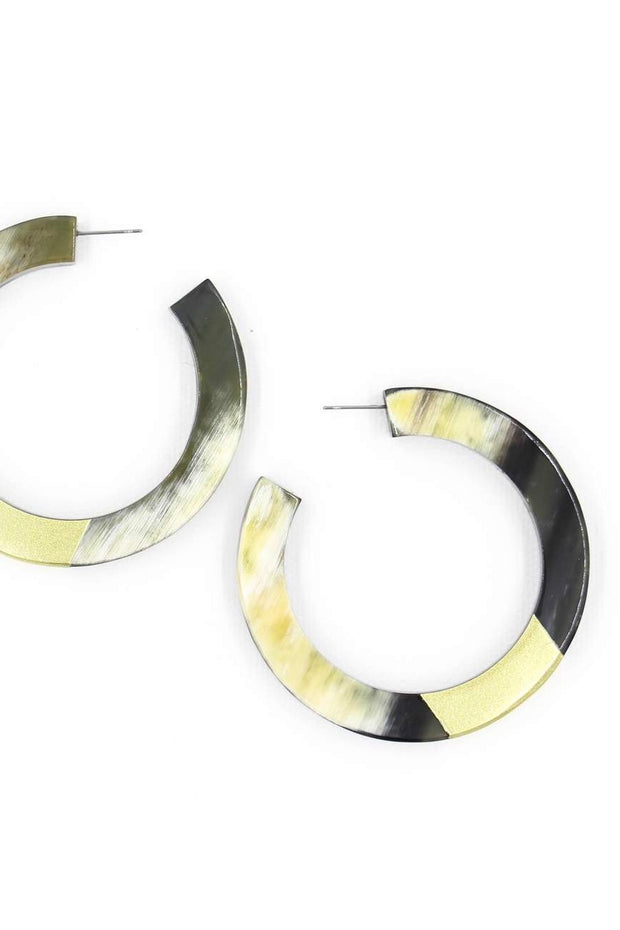 GOLD HORN HOOP EARRINGS