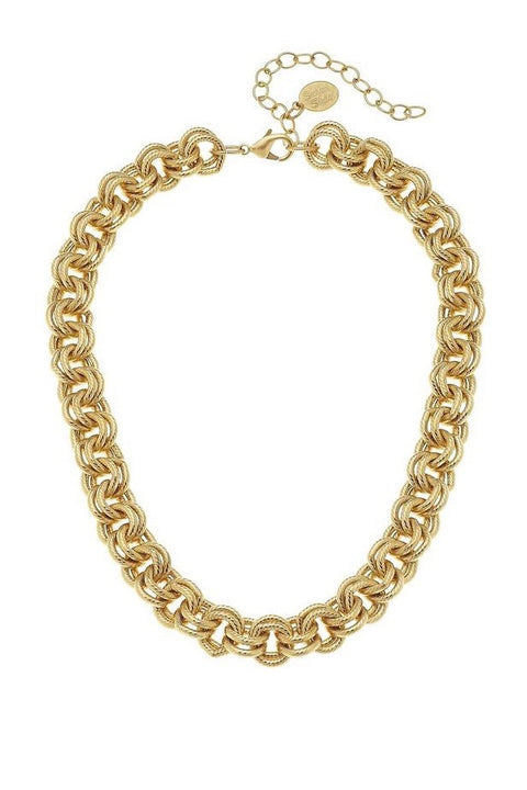 DOUBLE LINK CHAIN NECKLACE- GOLD